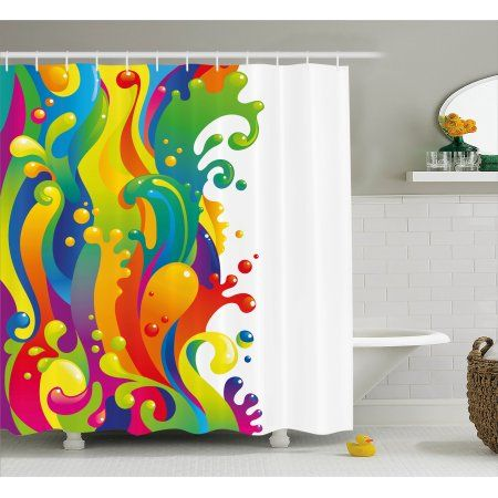 Psychedelic Shower Curtain Digital Made Liquid Wavy Rainbow Color