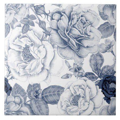 Elegant Blue White Vintage Floral Pattern Tile Zazzle Com Vintage Floral Pattern Pattern Art Vector Flowers