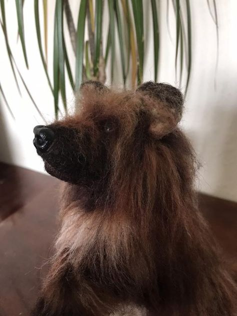 Felted Long Haired Dog Needle Felted Dog Handmade Soft Sculpture