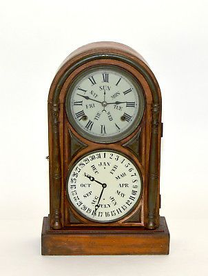 Antique Double Dial Perpetual Calendar Highly Brass Decorated Mantle Clock Ebay Clock Antique Mantle Clock Antique Clocks