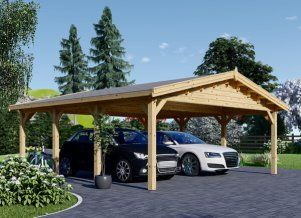 Double Wooden Carport With Shed 7 7m X 6m 25x20 Ft 44 Mm In 2020 Carport Wooden Garage Wooden Carports