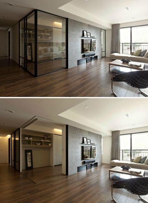 Retractable interior walls in apartment design