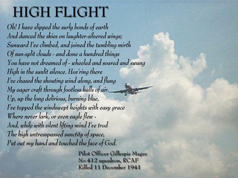 graphic relating to High Flight Poem Printable named Pinterest
