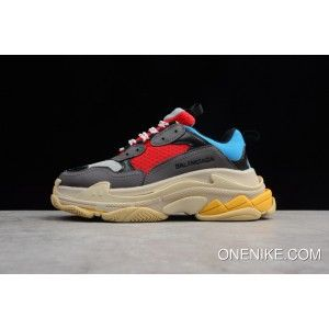 fc15e9bcc7c9 Mens And Wmns Balenciaga Tripe-S 17Fw Grey Red Blue Trainer Sneaker Dad  Shoes Top Deals