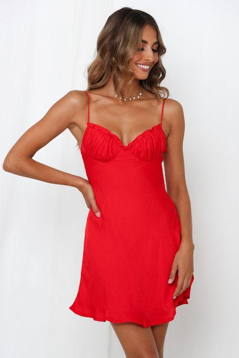 Cue the Insta envy! If you can't find a dress that's as luxe as you, we got you boo! All you have to do is strut your stuff in satin! This cheeky mini is an extra floaty style to complement your fuss-free and effortless personality. It also features a frilled sweetheart neckline with ruche bust cups. #hellomolly #dresses     Source by hellomollyofficial #Dress #Luxe Dresses fashion styles #Red #Strut #Stuff