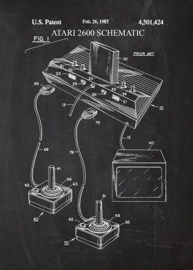 Atari 2600 Schematic Poster Print By Nicram K Displate Poster Prints Metal Posters Cool Artwork