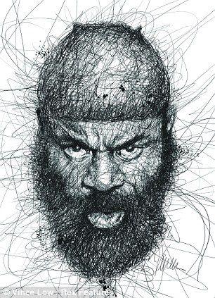 Kimbo Slice scribble portrait