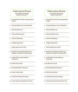 Alternative baby book names -- baby shower trivia
