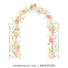 Beautiful Wedding Arch With Flowers Ranunculus Leaves Branches And Birds Vector Holiday Illustratio Vector Images Holiday Illustrations Wedding Arch Flowers