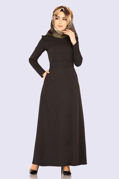 Modaselvim Elbise Kemerli Tesettur Elbise Ukb5002 Siyah Elbise Elbiseler