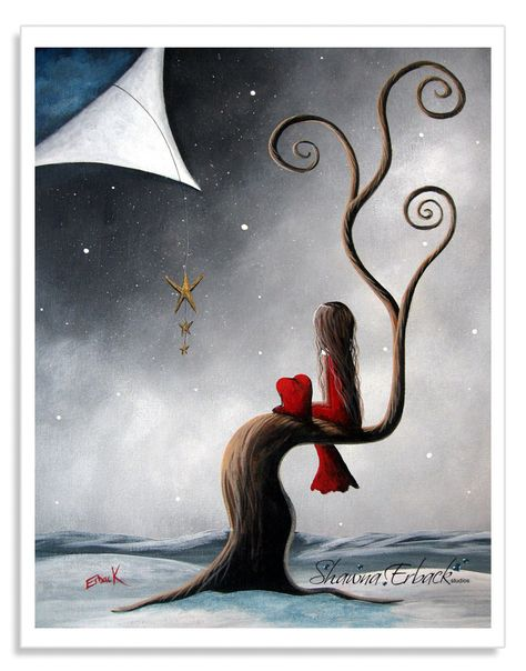 The title of this print is Not The Same Without You. The little girl and her heart pet are looking at three dangling stars while the snow blankets them with it's white warmth. DREAMER is your code for 15% off this 8x10 inch signed print in my Etsy shop.