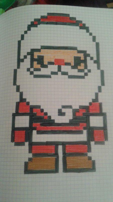 Père Noël Pixel Art Noel Pixel Art Et Coloriage Pixel