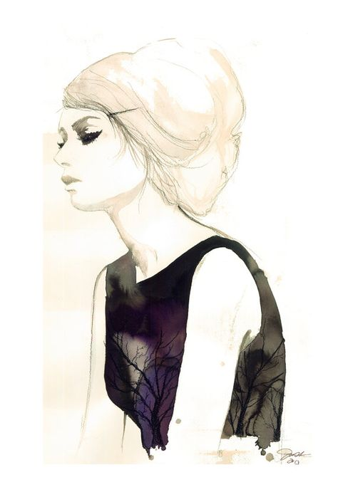 Weathered, print from original watercolor and mixed media fashion illustration by Jessica Durrant