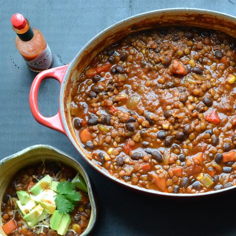 Black Bean and Lentil Chili - use agave instead of honey to make this chili an amazing vegan dish. | taste love and nourish