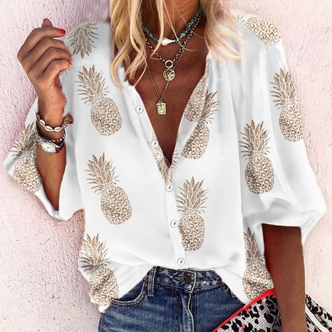 Turndown Collar Button Printed Colour Blouse – stylishpop