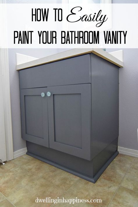 Bathroom Vanity Makeover U2013 Easy DIY Home Paint Project. Paint Suggestions  And Easy DIY Tutorial For Painting Bathroom Cabinets Black With Paint Frou2026