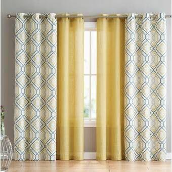 Mathilda Geometric Semi Sheer Grommet Curtain Panels Geometric Curtains Curtains Living Room Modern Grommet Curtains