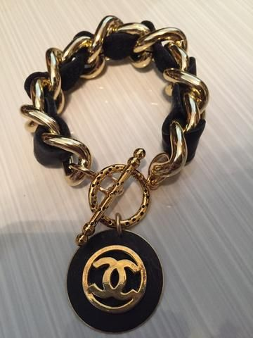 Chunky Leather Chain Chanel Button Bracelet Chanel Jewelry