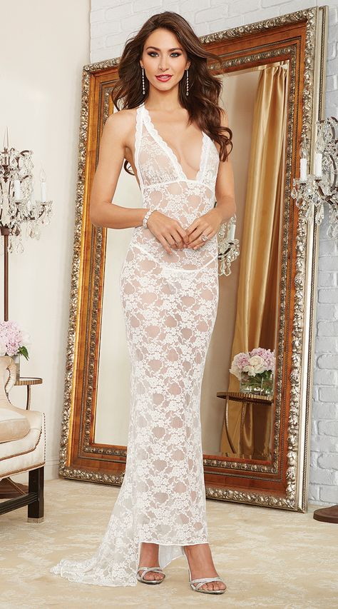 Pearl White Lace Night Gown   Bridal lingerie lace, White lace gown ...