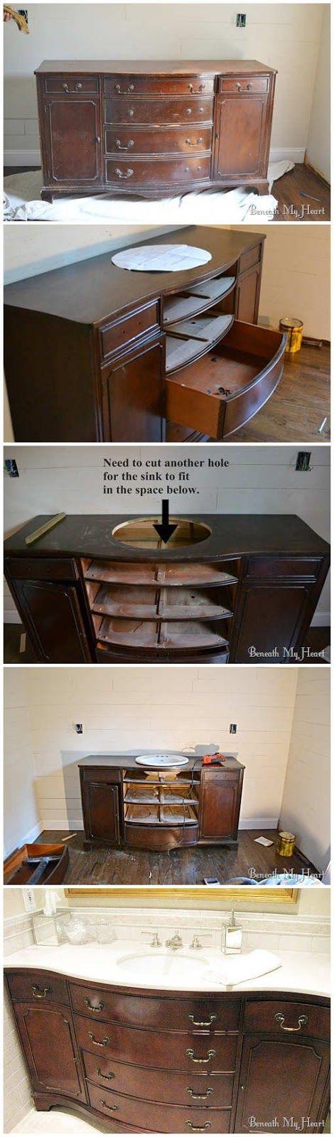 Bathroom Vanity From Dresser 4. make a bathroom vanity out of an old dresser! | bathroom ideas