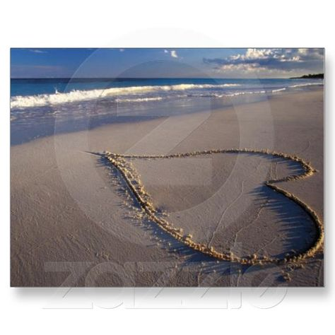 Pink sand heart for the beach