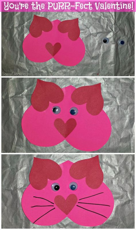 """Valentine Heart Cat Craft For Kids - """"You're The PURR-Fect Valentine!"""" #Valentines card idea #DIY art project 