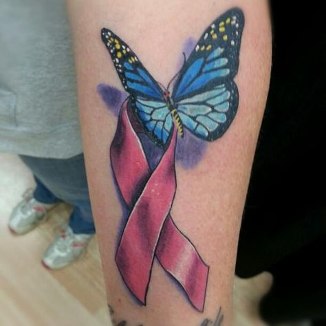 Tatuaje Lazo Cancer cancer ribbon with butterflydavid j. kline - cancer ribbon with