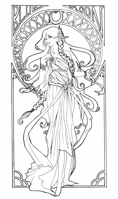 alphonse mucha coloring book pages sketch coloring page - Art Nouveau Coloring Book