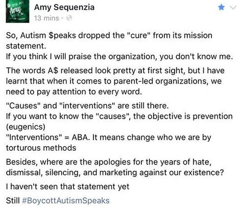 Autism Speaks Updates Their Mission >> Actuallyautistic People React To Autism Speaks Change In Mission