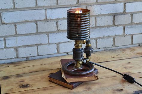 Industrial lamp, Steampunk lights,loft, Edison lemp, Handmade office lamp, Rustic room lighting, Loft bedside lamp, Unique pipe lamp by DesignerLight on Etsy