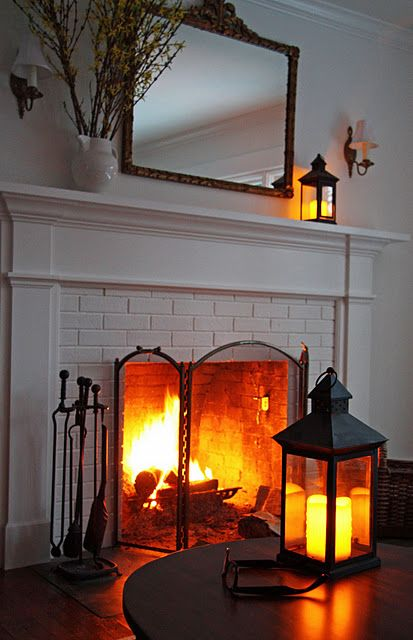 Fireplace in white