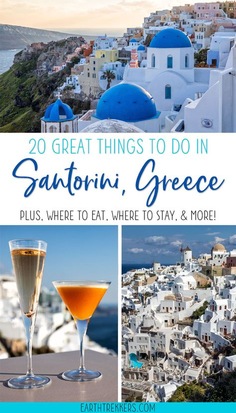 Best things to do in Santorini, Greece: watch the sunset in Oia, walk from Fira to Oia, red white and red beaches, best restaurants, where to stay, and more. #santorini #greece #cyclades #bucketlist