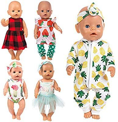 Amazon Com Ecore Fun 10 Item 14 16 Inch Baby Doll Clothes Dresses Outfits Pjs For 43cm New Born Baby Dolls In 2020 Baby Doll Clothes Best Baby Doll Bitty Baby Clothes