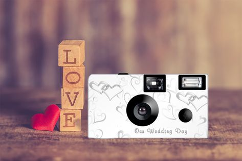 Capture your event with this 24 exposure, Fuji high speed, 35mm color film, disposable camera. A beautiful and unique idea for your wedding. Personalize this design with a line of text on the front and three lines of text on the back.