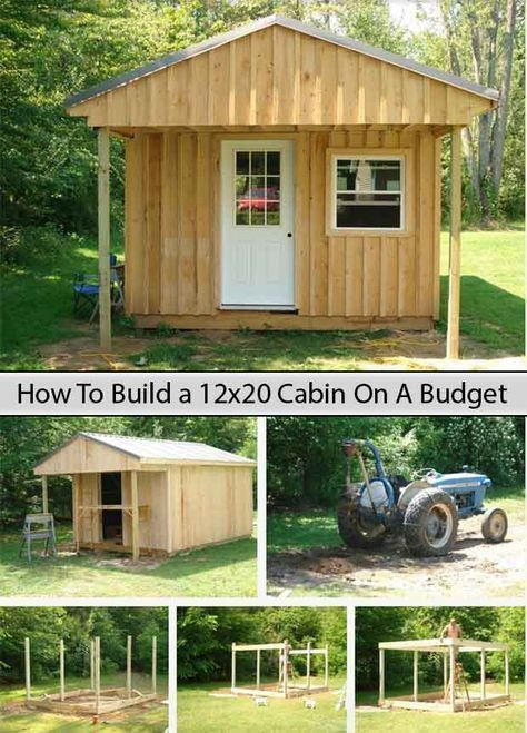 How To Build A 12x20 Cabin On A Budget Livinggreenandfrugally Com Beachhousedecor Building A Cabin Shed Building A Shed