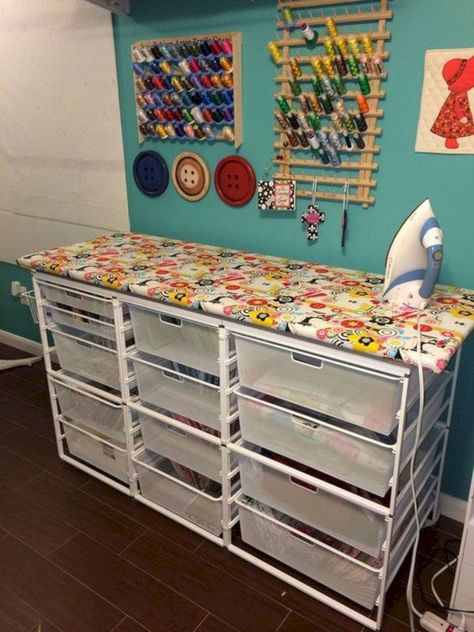 station with lots of fabric storage.ironing station with lots of fabric storage.ironing station with lots of fabric storage. Sewing Room Storage, Sewing Room Organization, My Sewing Room, Craft Room Storage, Fabric Storage, Organization Ideas, Studio Organization, Ikea Storage, Storage Shelves