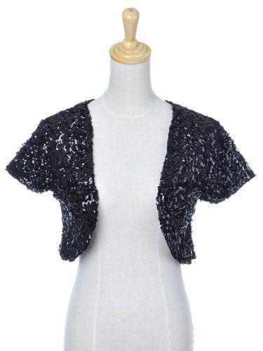 a4c28bbd0fb4 Anna-Kaci S/M Fit Metallic Black All Over Sequin Short Sleeve Shrugs ...