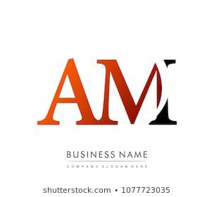 Initial Letter Logo Am Colored Red And Black Vector Logo Design