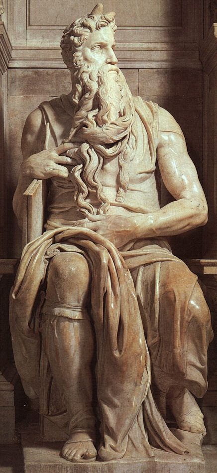 "Michelangelo's ""Moses"" (1515) - Due to a mistranslation of scripture by the early church, it was once believed that Moses had horns. Thus, many artists depicted Moses as having horns on his head."