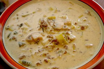 Champignon - Porree ( Lauch ) - Käse - Curry - Suppe ...