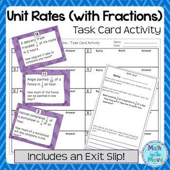 Unit Rates With Complex Fractions Task Card Activity 7 Rp 1
