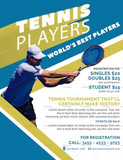 Tennis Player Flyer Template Tennis Players Tennis Flyer