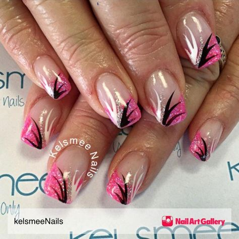 Glitterfrench With Nailart by kelsmeeNails from Nail Art Gallery