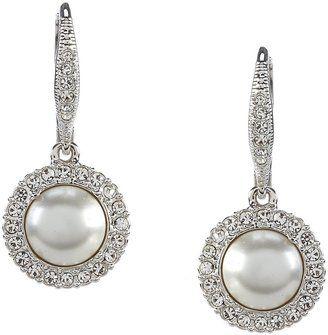 Nadri Pav FauxPearl Crystal Drop Earrings bride wedding