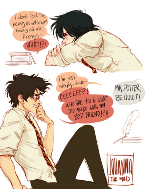 James Potter and Sirius Black in detention by johannathemad