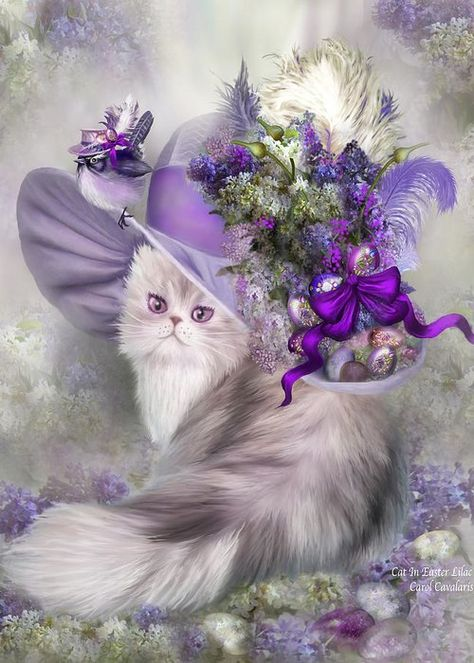 Cat In Easter Lilac Hat Greeting Card for Sale by Carol Cavalaris