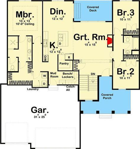 Plan 62725dj Modern 3 Bed Farmhouse Plan With Split Bedrooms Ranch House Plans Farmhouse Plans Bedroom House Plans