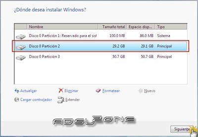 -Saldrán las particiones, donde seamos instalar Windows y por ahi mismo se podría aprovechar para hacer las nuevas particiones para los siguientes sistemas operativos adicionales que desamos instalar