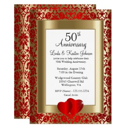 50th Golden And Red Wedding Anniversary Diy Text Invitation