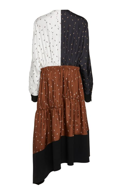 Tibi Patchwork Wrap Crepe Midi Dress